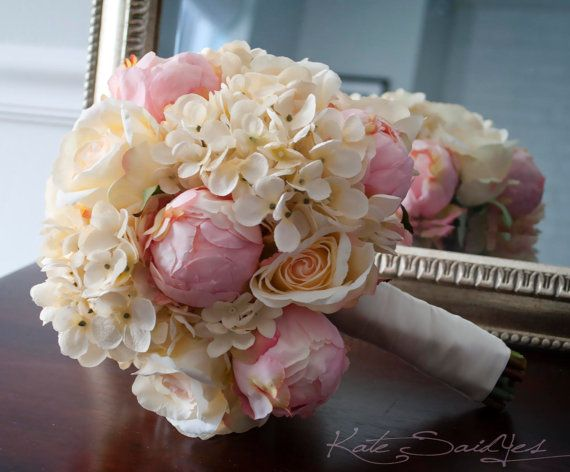 Shabby Chic Wedding Bouquet - Peony Rose and Hydrangea Ivory and Blush Wedding Bouquet
