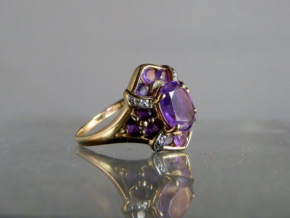 Hey, I found this really awesome Etsy listing at https://www.etsy.com/listing/217515029/10k-yellow-gold-ring-purple-amethyst