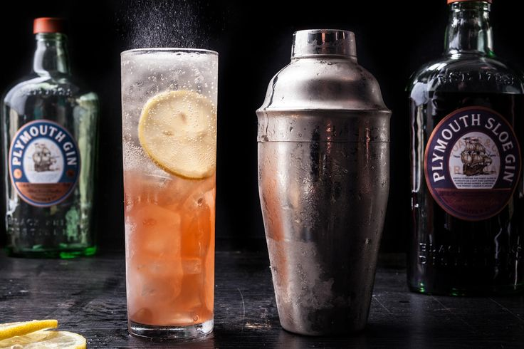 A classic gin fizz recipe made with sloe gin, regular gin, and lemon juice, topped off with club soda.
