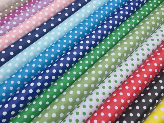 Polka dot spots Spotty oilcloth vinyl PVC table by TheFabricShopUK