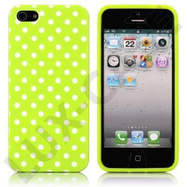 White Dots (Grønn) iPhone 5 Deksel