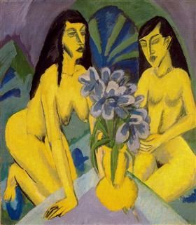 Two Yellow Knots with Bunch of Flowers - Ernst Ludwig Kirchner