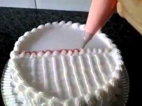 Decoração de bolo utilizando chantilly e cobertura de chocolate. - YouTube                                                                                                                                                     Mais