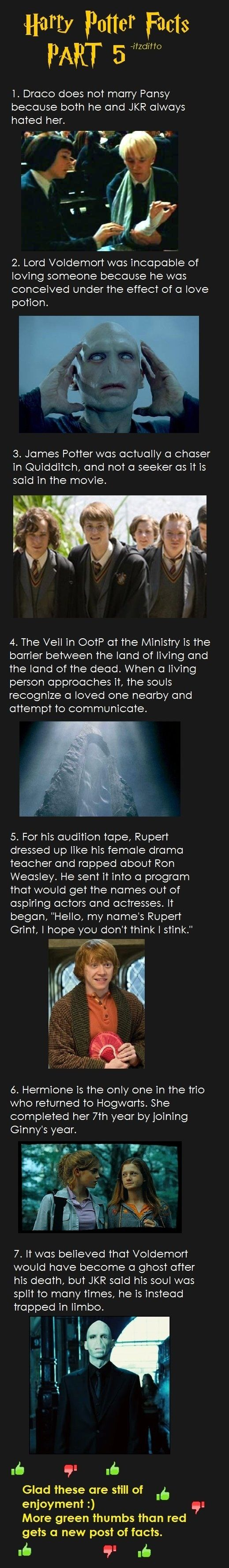 Harry Potter fun facts part 5.  - don't know if they're all true but I like 'em.