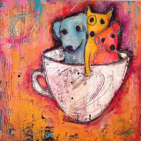 """Pup Cup""- mixed media on cradled wood by Jacqui Fehl:"