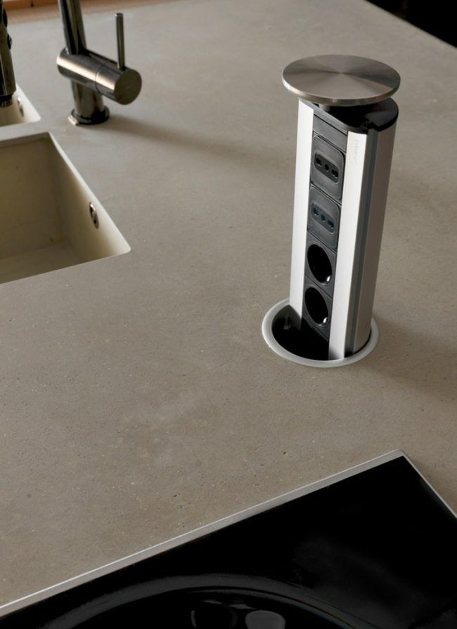 modern-kitchen cabinet-fine concrete-fronts-wood-extendable-multiple plug