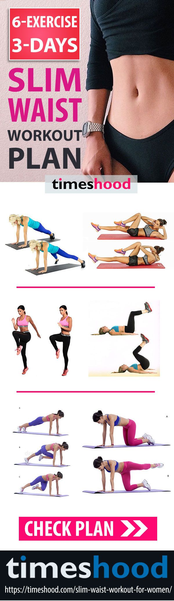 3 Days Best Waist Slimming Workout Plan. Waist Slimming Exercise. Burn fat from belly workout. Flat belly workout plan for 3 days. 6 Exercise and 3 days small waist workout challenge. Lose belly fat and get small waist with these exercise. Slim waist workout plan. #WorkoutChallenge #Fitness #Exercisetips #bellyfat https://timeshood.com/slim-waist-workout-for-women/
