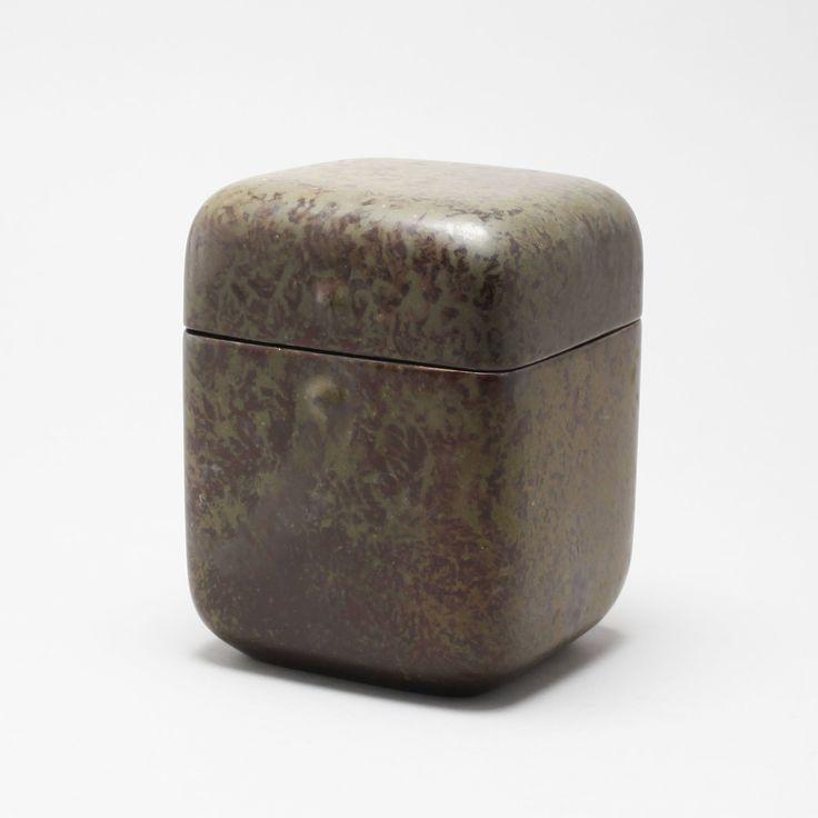 HANS HEDBERG, a lided jar, faience, Biot France. Length 14, width 13, height 18 cm.