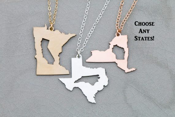 SALE • Best Friend Gift • Friendship Necklace • Moving Gift • Long Distance Relationship • Sisters Necklace • Girlfriend Gift•State Necklace