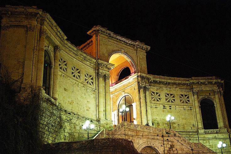 Cagliari. Castello district. Bastione Saint Remy by night