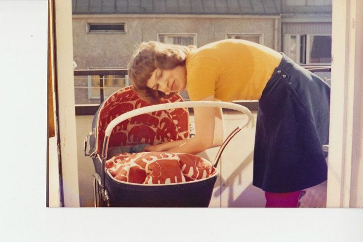 """I tuned the baby carriage for my first born with the Elefantti fabric. I had to get it from Stockholm, as it was not yet sold in Finland."" -LK (1972)"