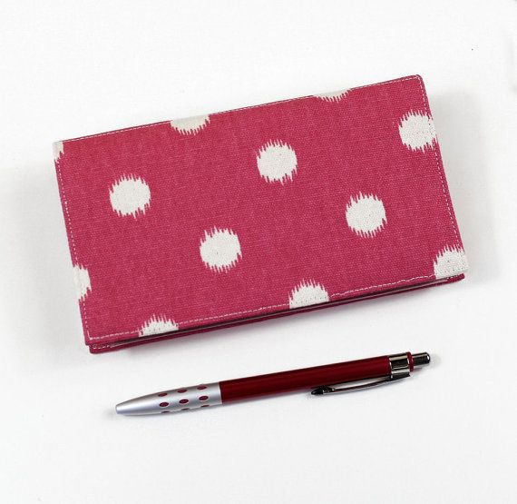 Polka Dots Checkbook Cover for Duplicate Checks by QuiltSewCover