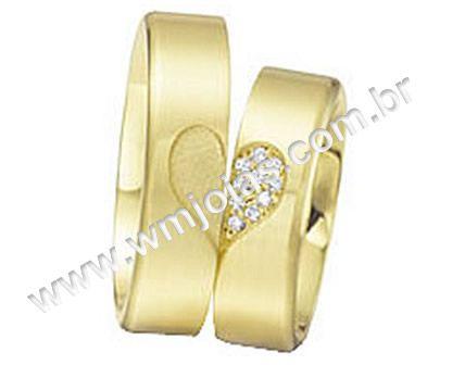 Aliança de noivado e casamento Aliança em ouro 18k 750 Modelo: CORAÇÃO