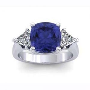 Tanzanite Ring, 3.73 Carats, Cushion  Price: (USD) $5,600.00   Metal: Platinum Gram Weight: 6.5 Total Diamond Weight:: 0.70Ct.  *All diamonds are F, VS Quality, conflict free