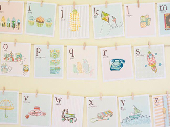 DIY Vintage Alphabet Cards - For kids' rooms!