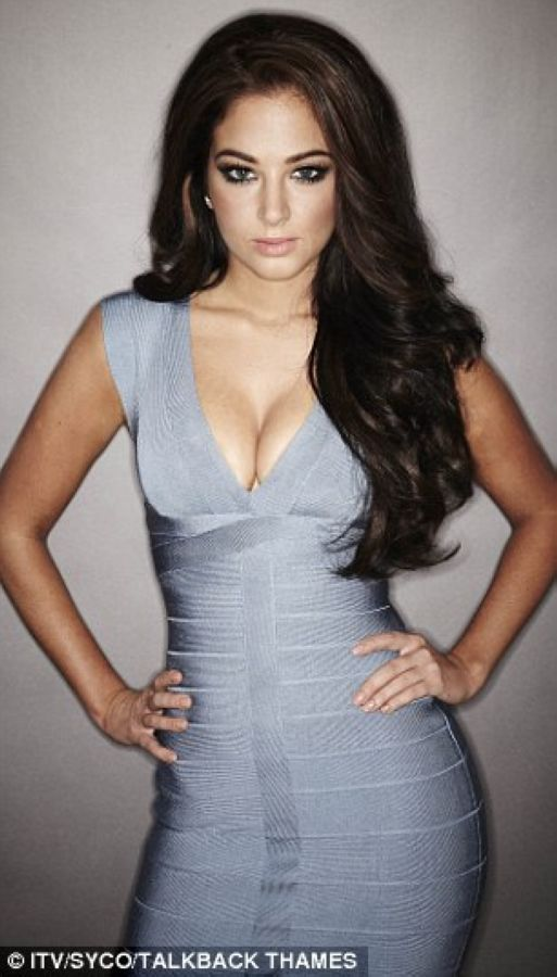 Herve Leger Tulisa Contostavlos Grey Low Cut Bandage Dress