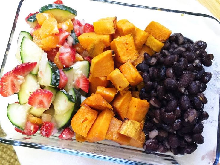 Black beans, roasted sweet potatoes and a cucumber salad (cucumber, strawberries, halos, onion and garlic).