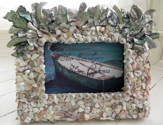 seashell picture frame - beach decor - Mother of pearl