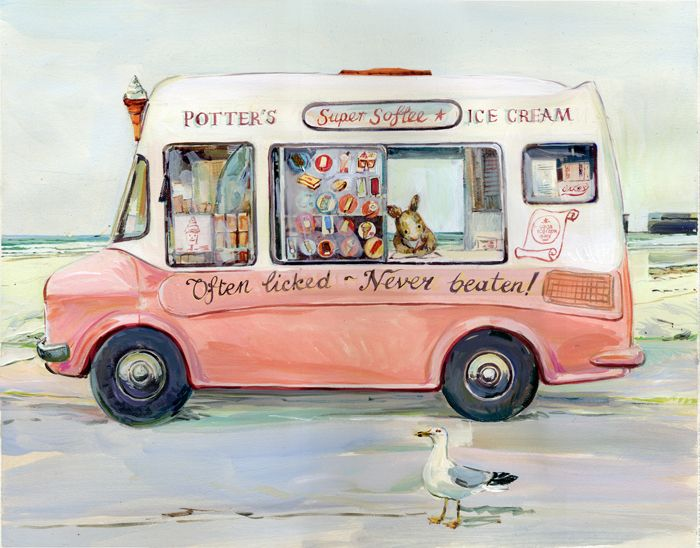ice cream van and a seagull -Claire Fletcher