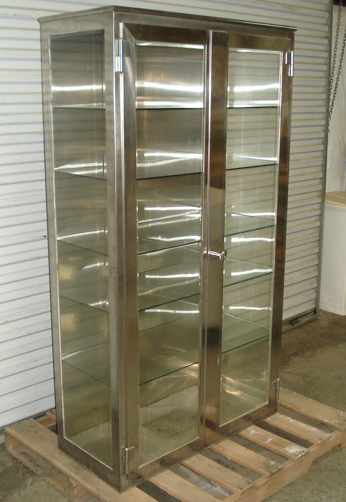 STAINLESS STEEL Vintage Medical Supply Storage Cabinet Beveled Glass OR  Surgery