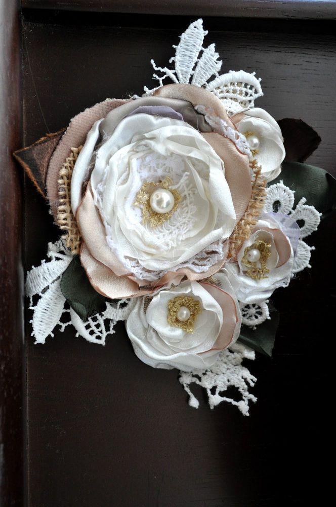 XL handcrafted corsage ivory cream white brooch dress sash pin wedding bride