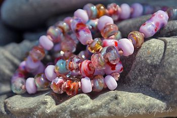 glass lampwork beads for Jewelry Design by Jenelle Aubade 16 CHESHIRE DRAGON Round Set