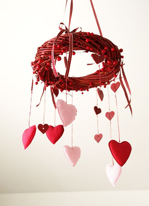 Valentine wreath -  Valentine's Day hanging decor heart ornament  wooden decor love wreaths red home decorations