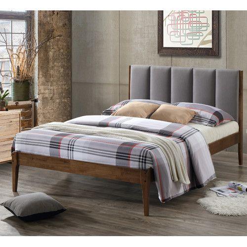 wholesale interiors baxton studio rachele midcentury fabric and wood full size platform bed color dark gray size full