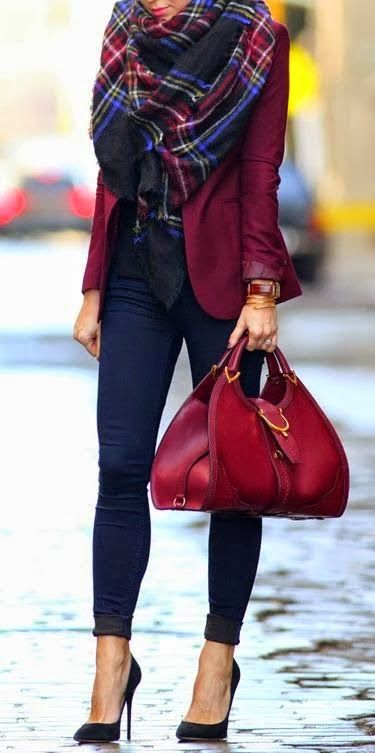 Maroon blazer very cute! (Would be good for my work....  With looser pants). Scarf is pretty too.