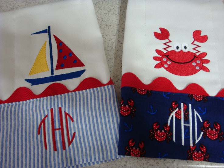 Nautical Baby Burp Cloths monogram for FREE by sandysstitches2