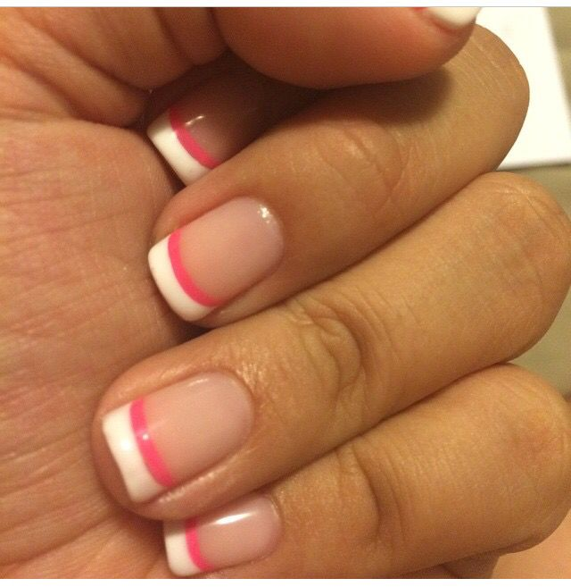 Classic French tip with a pink twist