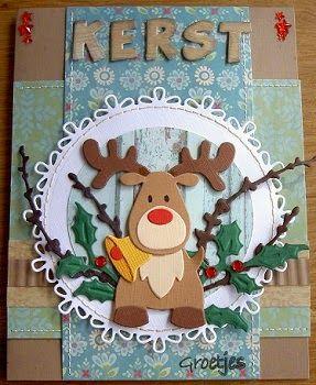 Kerst Met de kerst in aantocht, moet de voorraad toch eens aangevuld worden. Dit kaartje heb ik gemaakt met de volgende mate...