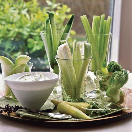 Crudités with Wasabi Dip | Nonfat Greek yogurt blended with fresh goat cheese and spiked with wasabi makes for a luscious, thick, tangy and addictively spicy dip. In addition to the vegetables listed below, try raw kohlrabi, chayote and endive, and wax beans that are blanched until crisp-tender.