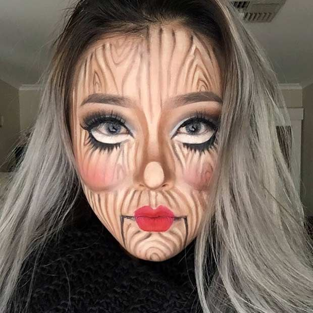 Spooky Wood Doll Makeup Look for Halloween