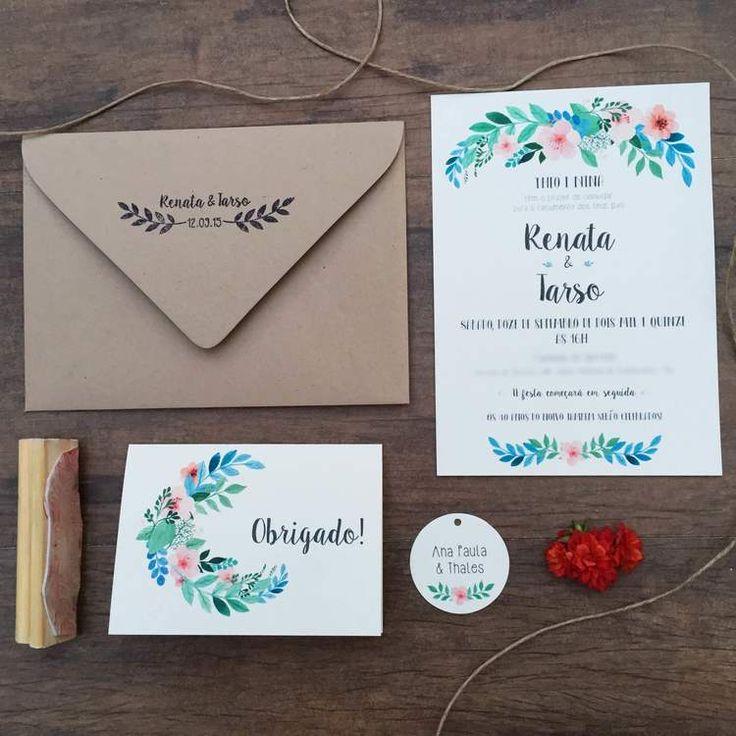 convite de casamento; convite rústico; envelope kraft; convite floral;