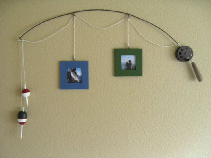 Fishing Pole Picture Frame Simple Collage Design With Maple Wood For The Frame Material And Using Fishing Strings For The Hanger Also Using Fishing Rod For The Hanger Place And Decoration