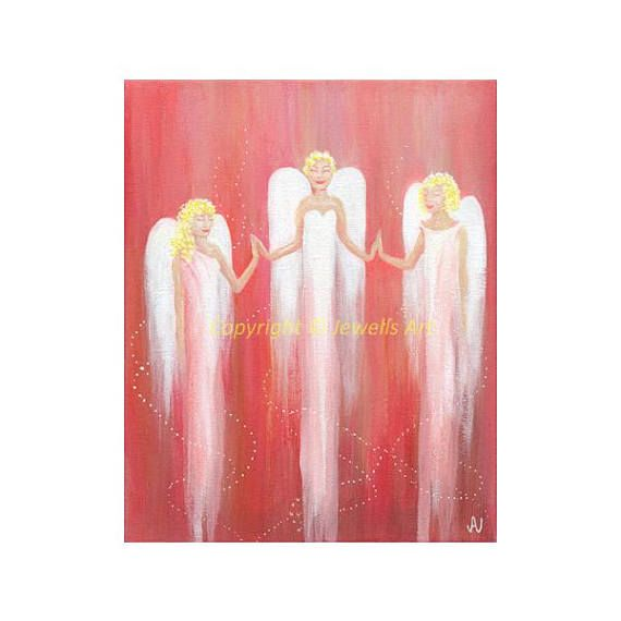 Original SOLD, prints available. Love and Healing Angels Painting on Canvas Spiritual Art by Julia Underwood and Jewells Art