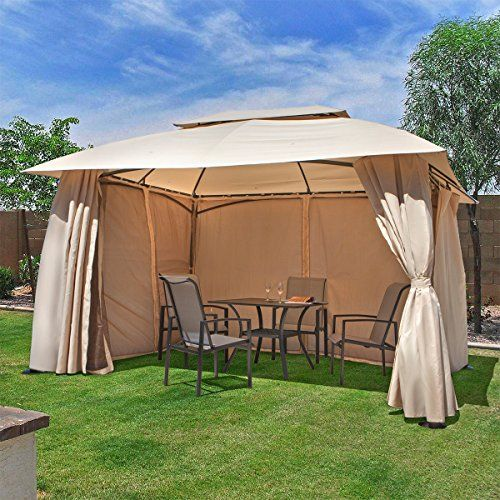 Barton 10 x 12 FT Garden Gazebo, Fully Enclosed w/ Mosquito Netting  Peak height: 9ft, clearance height: 6.75ft  Fully enclosed: privacy panels and mesh curtains zip close or tie back  Vented roof  Water and fire resistant  Mosquito netting is included