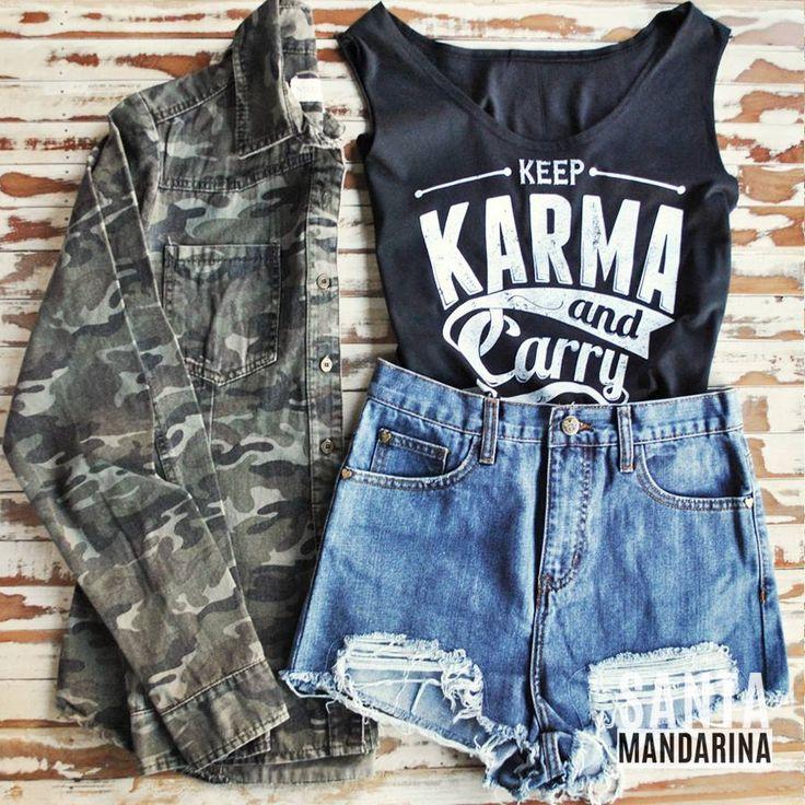 ▼ Outfit Santa Mandarina ▼ Camisa Camo + Musculosa Karma + Short Jean = Super cool! Shit Camo, Camouflage, Camuflada, Militar, Military, Army, cool, Shirt, Jean.  www.santamandarina.com.ar