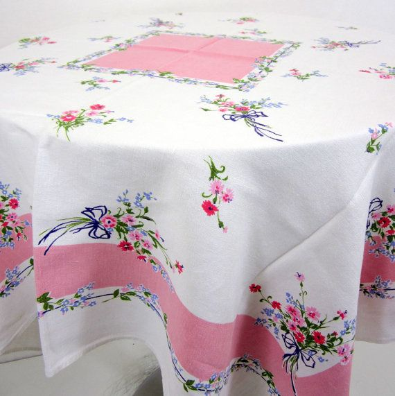 Vintage Tablecloth 1950s Decliate Floral Pink by gloamingarts