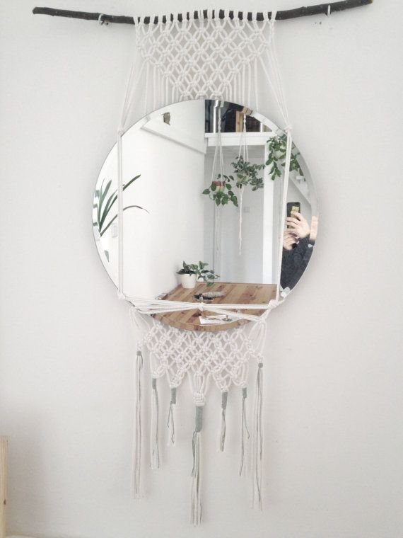 macrame wallhanging with mirror by IloonaHome on Etsy