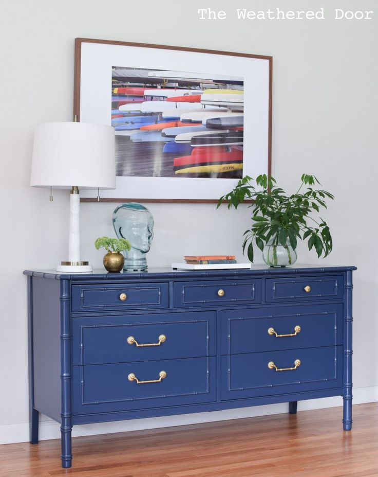Before & After: Navy Faux Bamboo Dresser