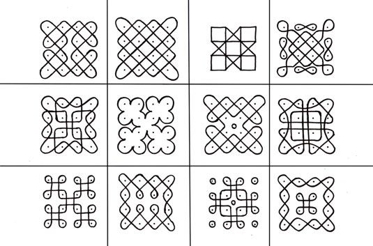 Types of Muggu are 1.Chukkala Muggulu (Dot Designs): Dots are arranged in a specific sequence, in a matrix form equidistant from each other and these dots are joined either by lines or curves to create different muggu designs.
