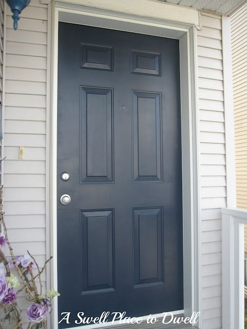 Navy blue front door martha stewart 39 s wrought iron using for Navy blue front door