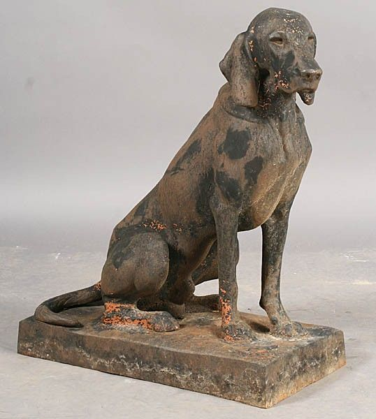 SWEET CAST IRON DOG STATUE GARDEN SEATED ANIMAL
