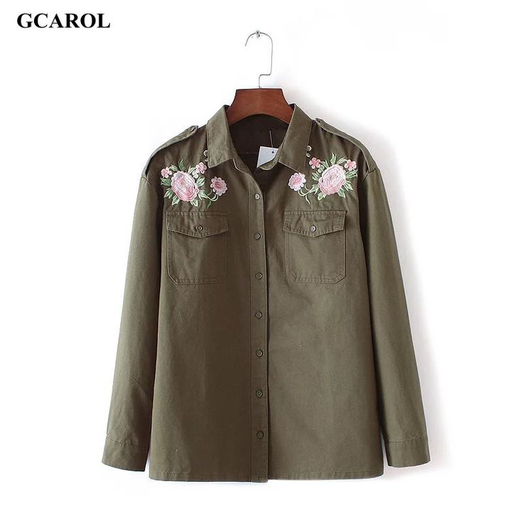 GCAROL Women New Embroidery Floral Denim Blouse Single Breasted Button Handsome OL Shirt Euro Style Green Basic Floral Outwear