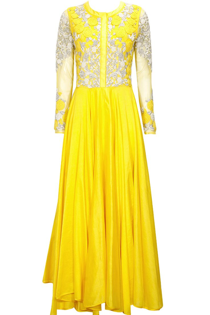 Yellow embroidered anarkali set available only at Pernia's Pop-Up Shop.