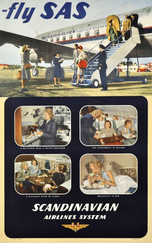SAS, Fly SAS, Scandinavian Airlines System - Vintage Posters - Galerie 123 - The place to find vintage art