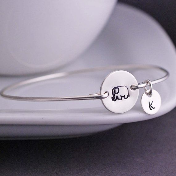 Elephant Bracelet Elephant Jewelry Personalized by georgiedesigns