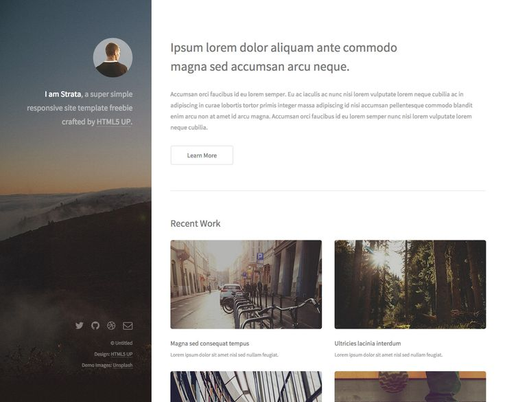 strata is a free responsive html template perfect for a clean one page portfolio